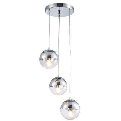 srebrna lampa wisząca szklane kule do jadalni