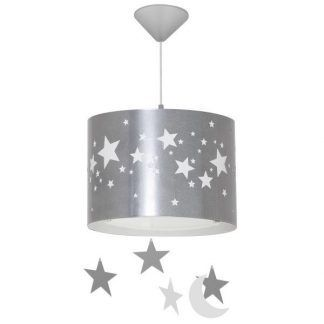 Srebrna lampa wisząca w białe gwiazdki metalowa