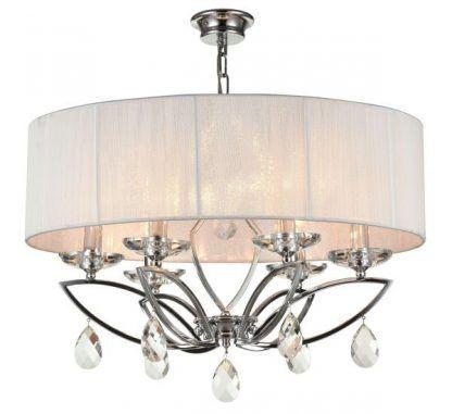 srebrna lampa wisząca z abażurem do sypialni