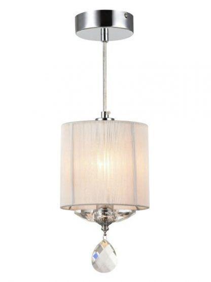 srebrna lampa wisząca z białym abażurem
