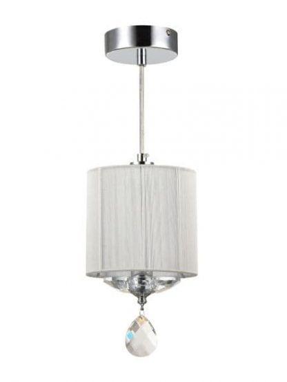 srebrna lampa wisząca z białym abażurem glamour