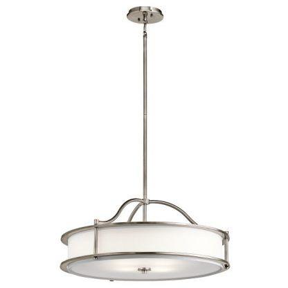 srebrna lampa wisząca z białym szklanym kloszem