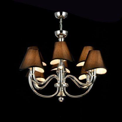 Srebrna lampa wisząca z czarnymi abażurami