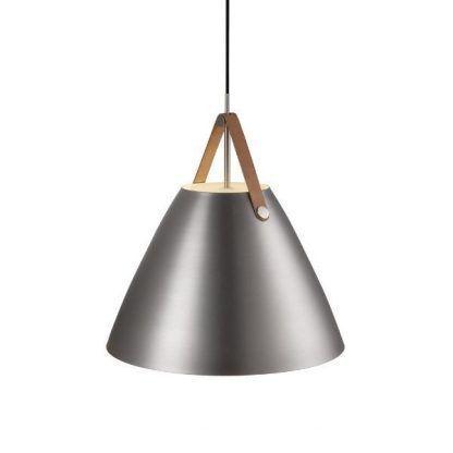 srebrna lampa wisząca z dużym otwartym kloszem