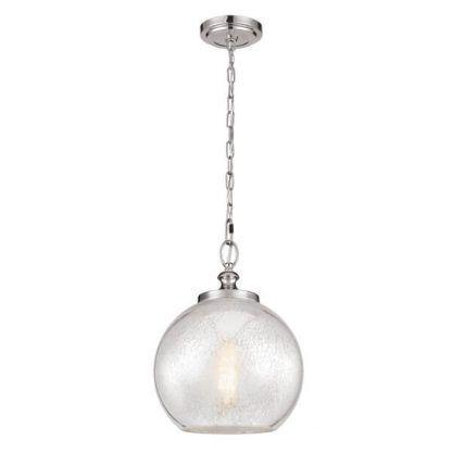 srebrna lampa wisząca z kloszem szklaną kulą