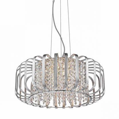 srebrna lampa wiszaca z kryształkami jakby azurowa