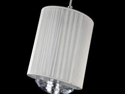 srebrna lampa wisząca z kryształkiem biały abażur