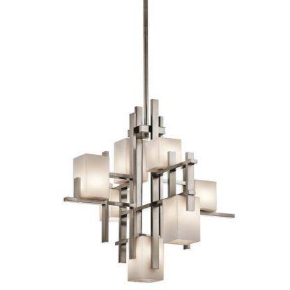 srebrna lampa wisząca z mlecznymi kostkami