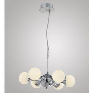 srebrna lampa wisząca z mlecznymi kulami