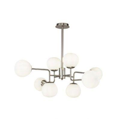 srebrna lampa wisząca z mlecznymi kulami nowoczesna