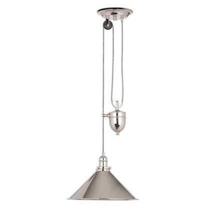 srebrna lampa wisząca z obciążnikiem - blacha