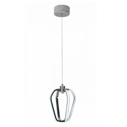 srebrna lampa wisząca z panelem led