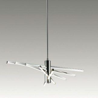 srebrna lampa wisząca z paneli led nowoczesna