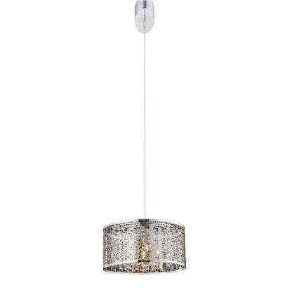 srebrna lampa wisząca z szerokim kloszem