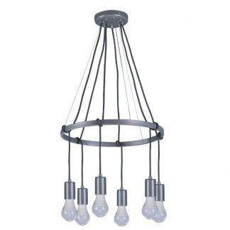 srebrna lampa wisząca z zawieszeniami na żarówki