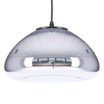 srebrna lampa wisząca ze szklanym kloszem do kuchni