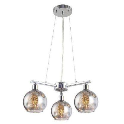 srebrna lampa wisząca ze szklanymi kloszami kulami