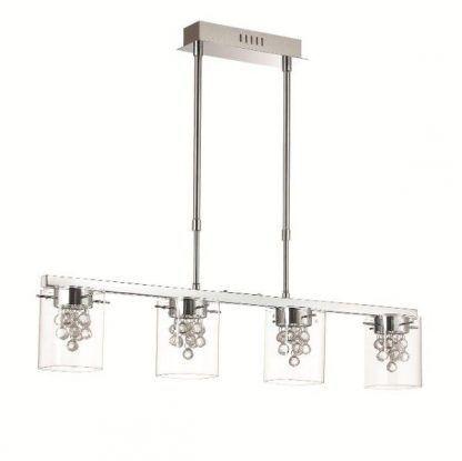 srebrna lampa wisząca ze szklanymi kloszami nad stół