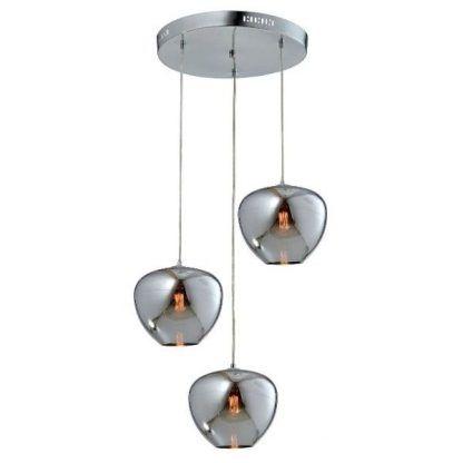 srebrna lampa wisząca ze szklanymi kloszami połysk