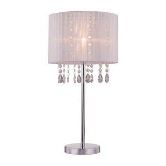 Srebrna lampa z abażurem i kryształkami
