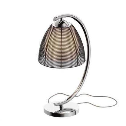 Srebrna lampa z abażurem i szklanym kloszem wewnątrz
