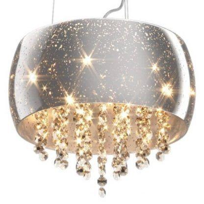 Srebrna lampa z kryształami i pięcioma źródłami światła salon