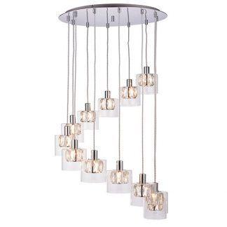 Srebrna lampa z kryształowymi kloszami do salonu
