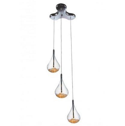 Srebrna lampa z trzeba wiszącymi kloszami do jadalni
