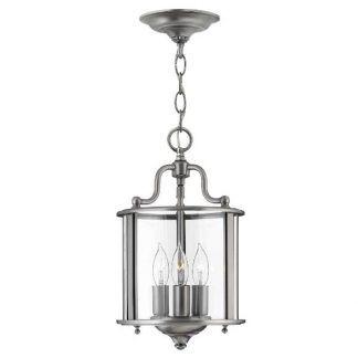 Srebrna lampa ze świecznikami w srebrnej oprawie