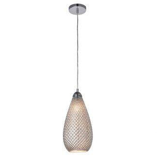 Srebrna lampa ze szklanym fakturowanym kloszem