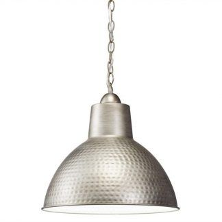 Srebrna metalowa lampa wisząca do kuchni
