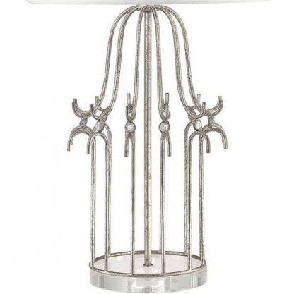 Srebrna metalowa podstawa lampy do sypialni