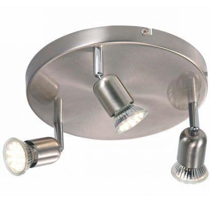 srebrna okragła lampa sufitowa z 3 reflektorami led