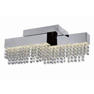 Srebrna podstawa lampy z wiszącymi kryształkami
