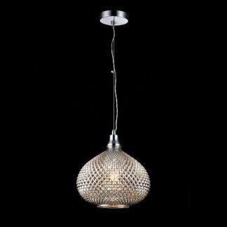 srebrna połyskująca lampa wisząca ze szkła