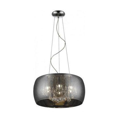 srebrna szklana lampa na linkach wiszących nad stołem lub salonu