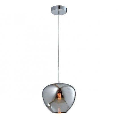 srebrna szklana lampa wisząca do salonu nowoczesna