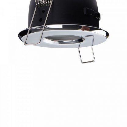 srebrne oczko sufitowe nowoczesne polerowane do łazienki