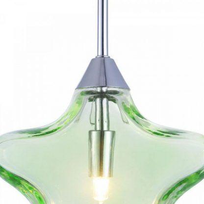 Srebrne wykończenie zielonej szklanej lampy