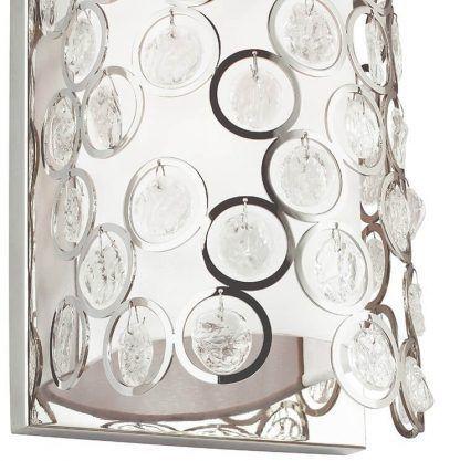Srebrny abażur z kryształkami kinkiet do sypialni