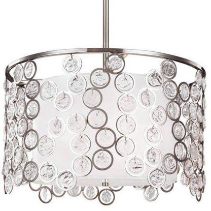 Srebrny abażur z kryształkami w kształcie okręgów do sypialni