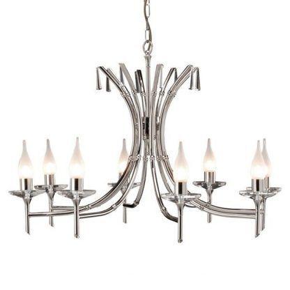 srebrny elegancki żyrandol w stylu klasycznym