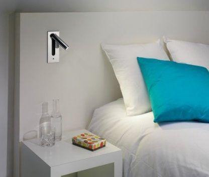 srebrny kinkiet do czytania w łóżku nowoczesny