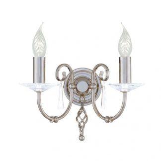 srebrny kinkiet do salonu na 2 świeczniki - szkło i kryształki