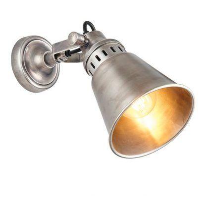 srebrny kinkiet do salonu styl przemysłowy