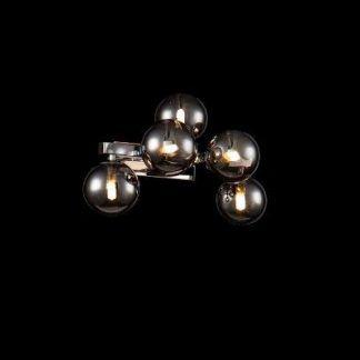 Srebrny kinkiet do sypialni szklane kule