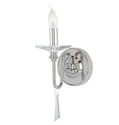 srebrny kinkiet glamour świecznikowy pojedynczy