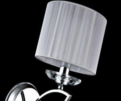 srebrny kinkiet glamour z białym abażurem