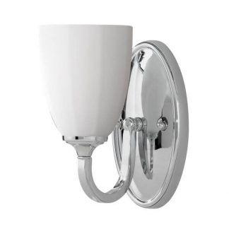 srebrny kinkiet łazienkowy z białym kloszem