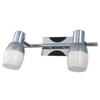 srebrny kinkiet na dwa klosze nowoczesny do łazienki